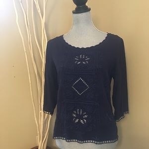 Solitaire navy blue eyelet top size small